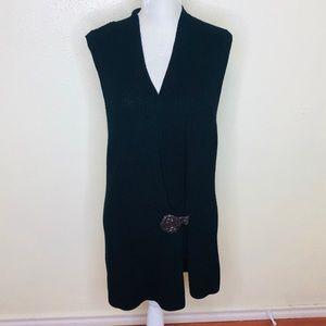 Lauren Ralph Lauren Black Knit Sleeveless Cardigan
